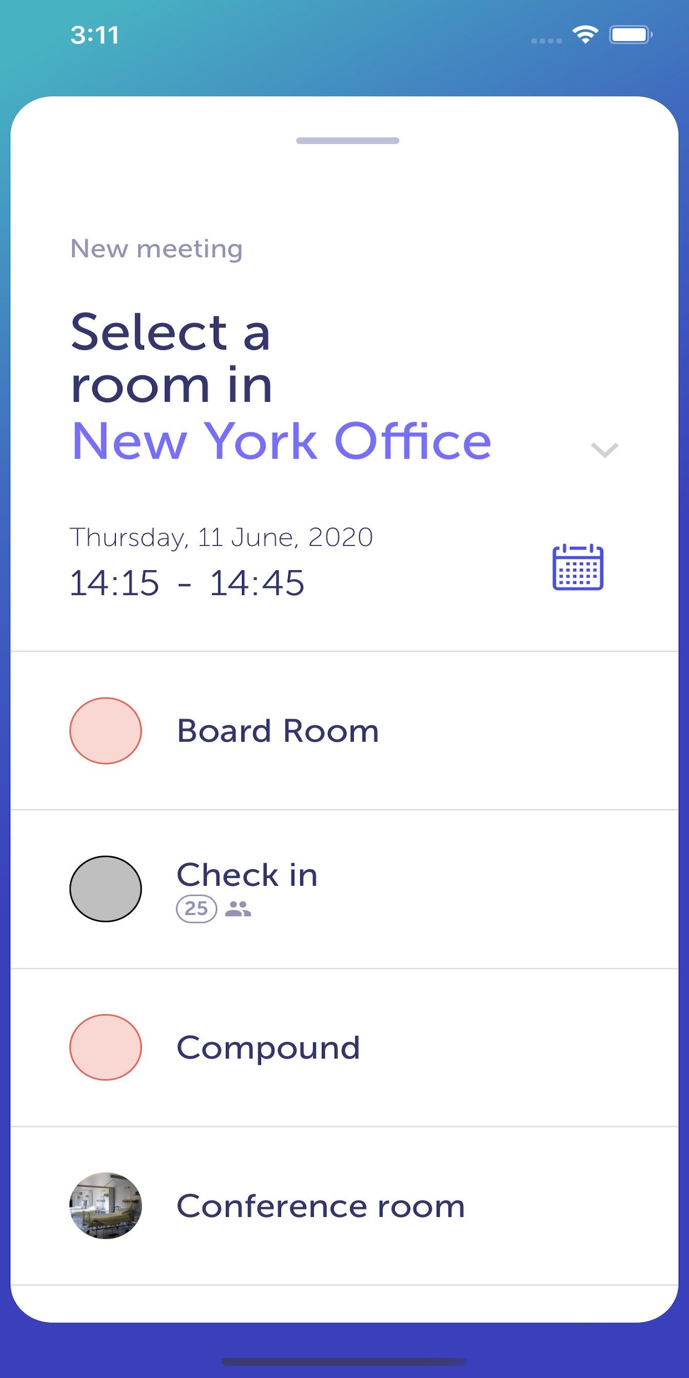 YAROOMS Mobile App - add meeting / select room