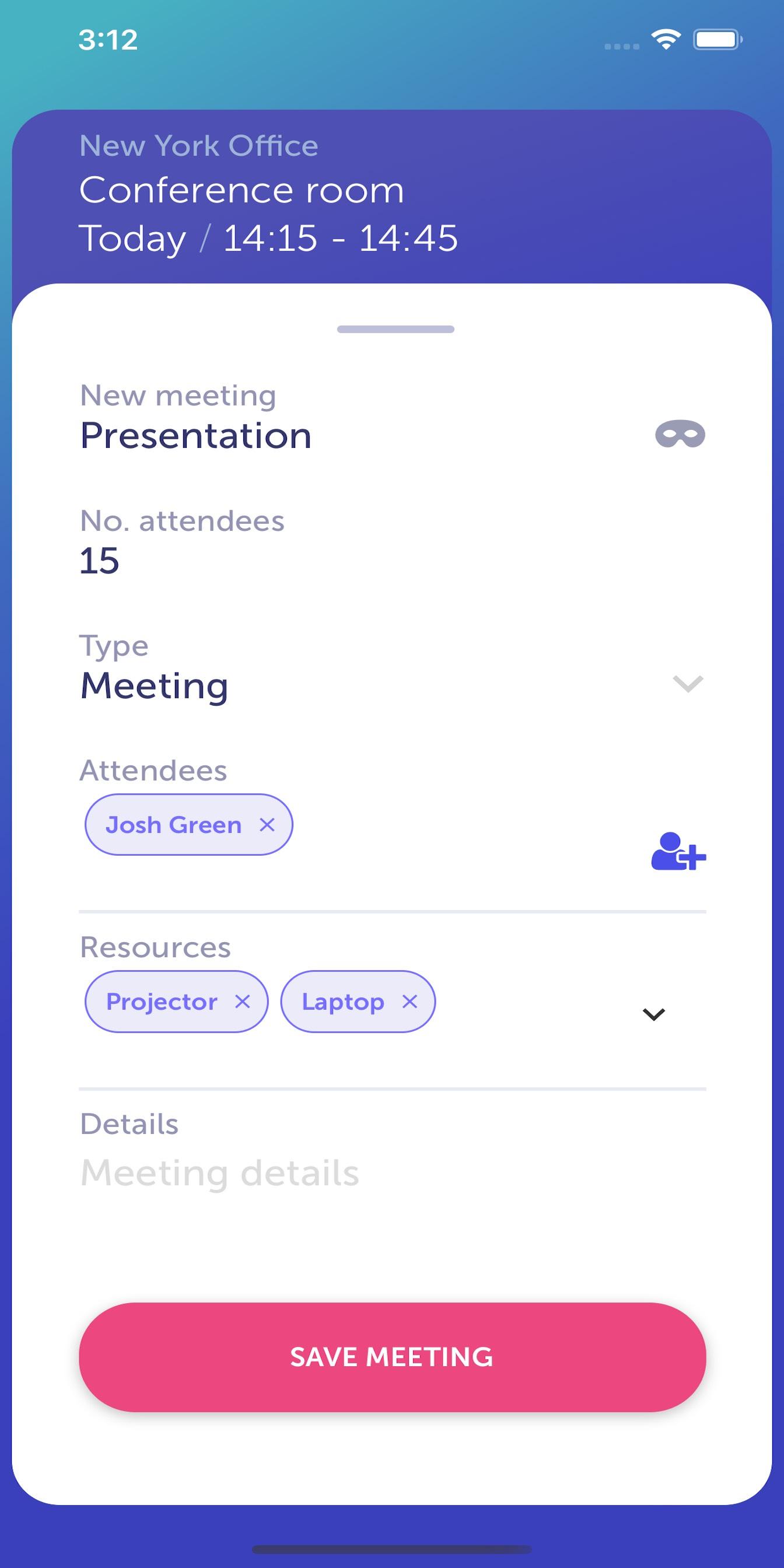 YAROOMS Mobile App - add meeting