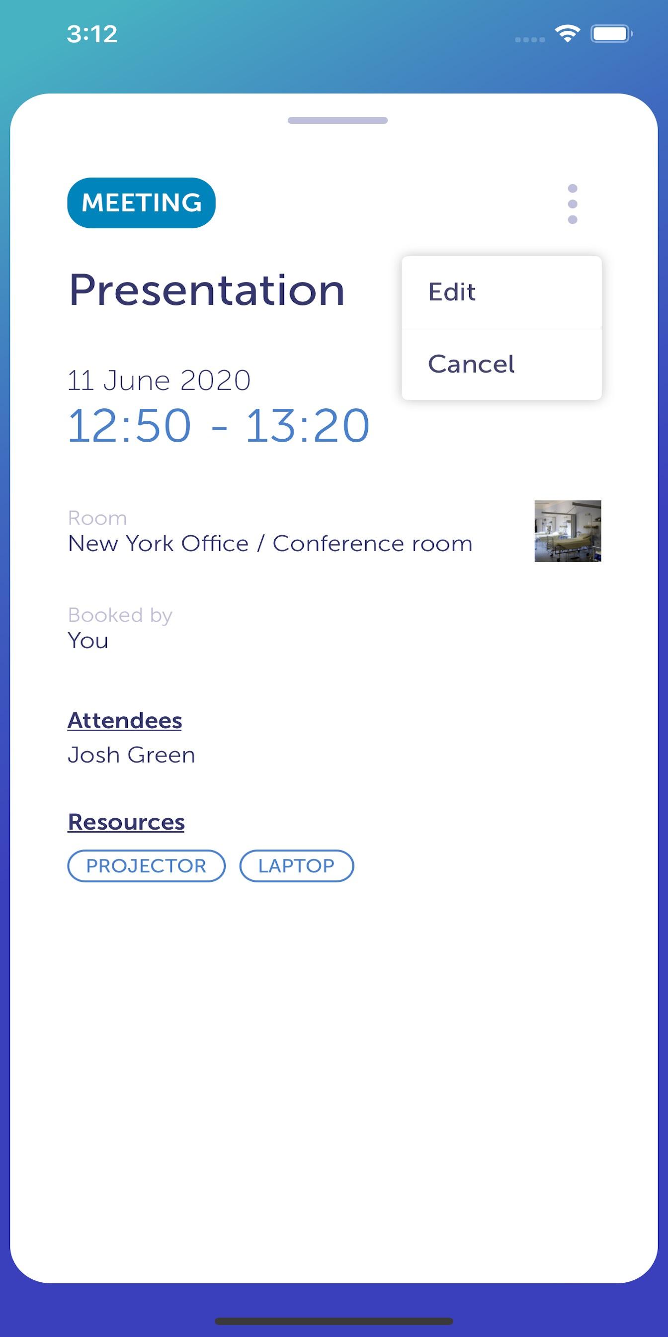 YAROOMS Mobile App - meeting details